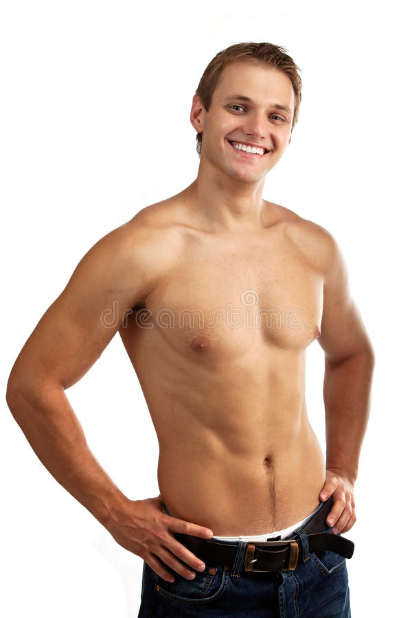 Cheerful young man in jeans with bare torso stock photos