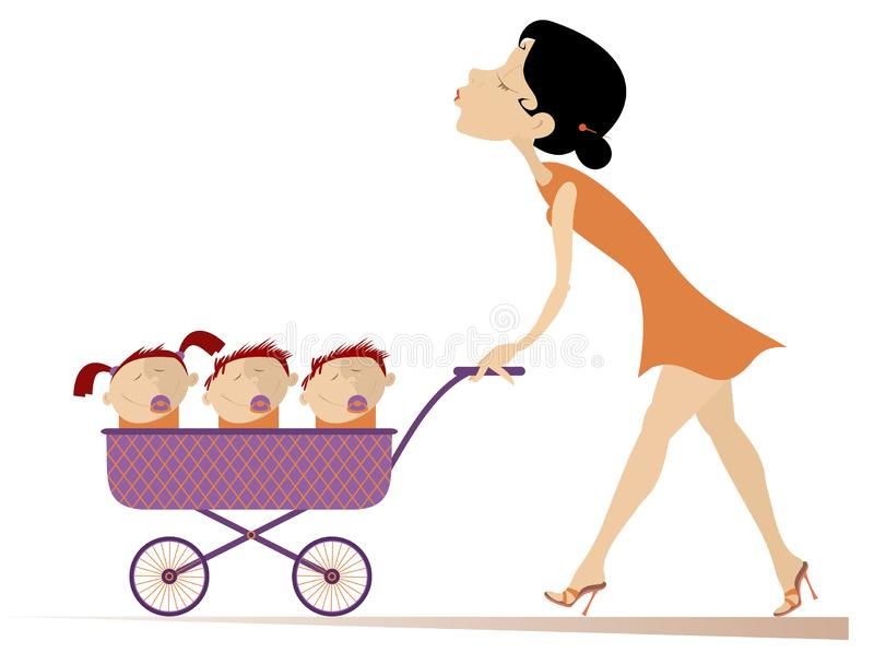 Young woman with children in the stroller illustration. Cheerful young mother carries a stroller with three children in isolated on white illustration stock illustration
