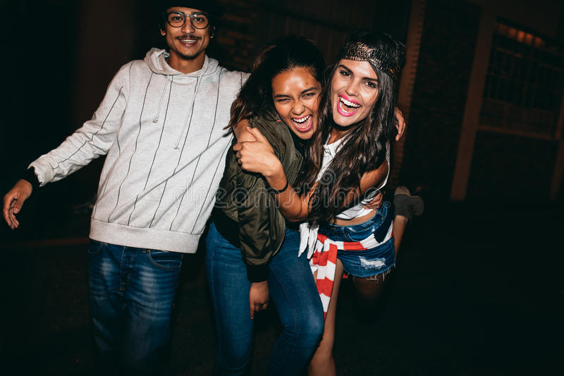 Cheerful young people having a party royalty free stock photography