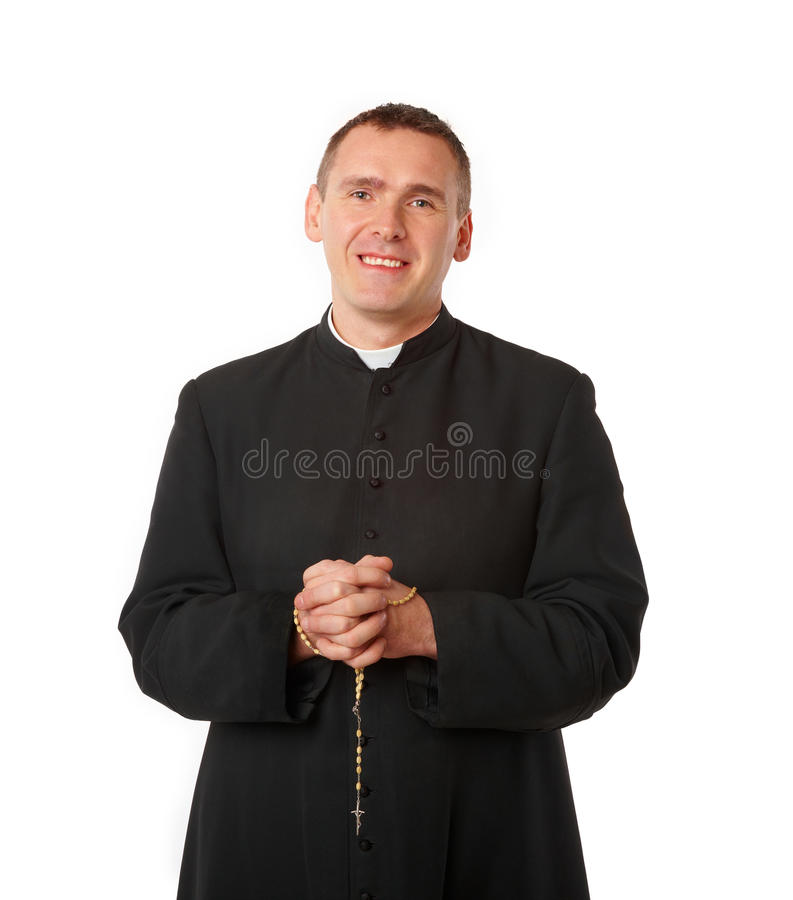 Cheerful Young Priest Stock Images