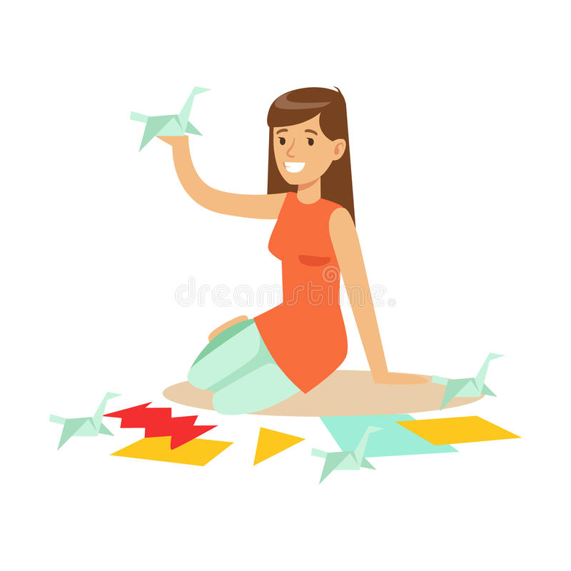 Cheerful young woman making origami cranes from colorful papper. Craft hobby and profession colorful character vector vector illustration