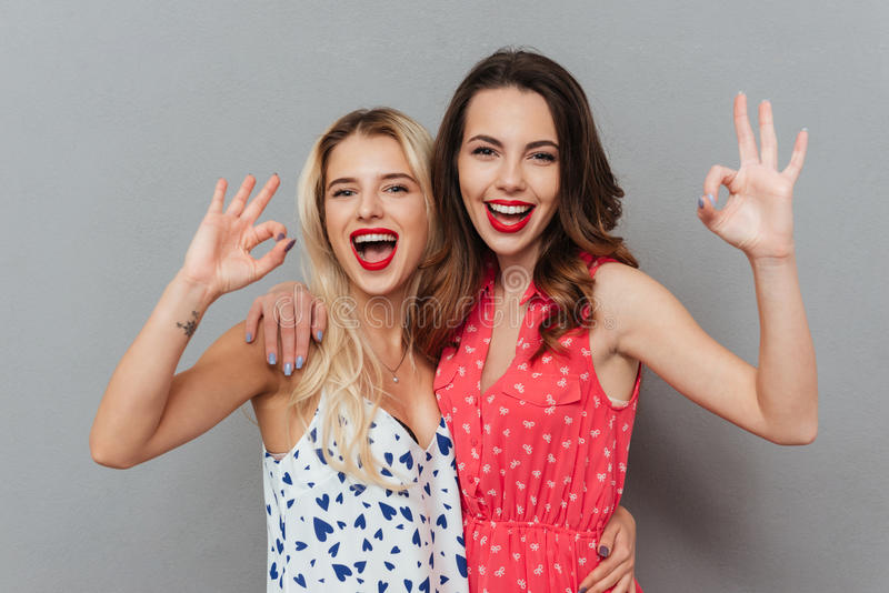 Cheerful young women make okay gesture. Image of two pretty cheerful young women posing over grey background. Looking at camera and make okay gesture royalty free stock images