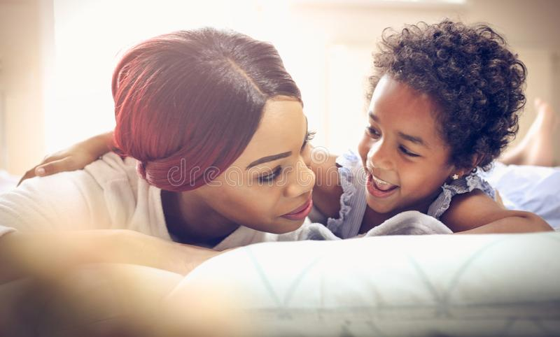 Cheerfully morning with mother. royalty free stock image
