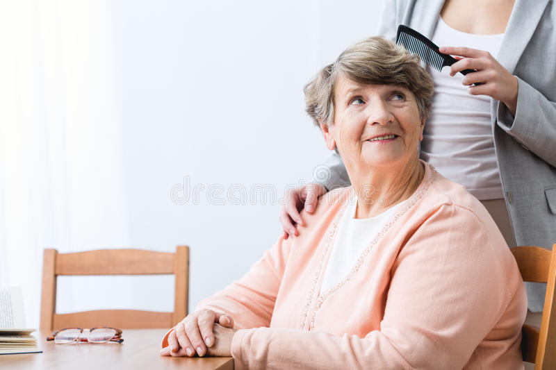 Cheerfulness old woman. Image of cheerfulness old women with health problem royalty free stock images