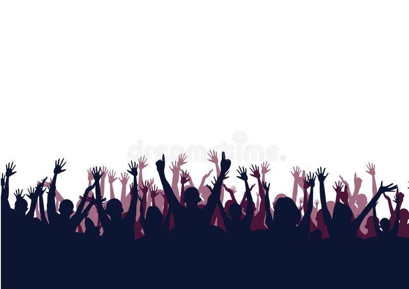 Cheering alegre da multid?o M?os acima no fundo branco Silhueta ilustração royalty free