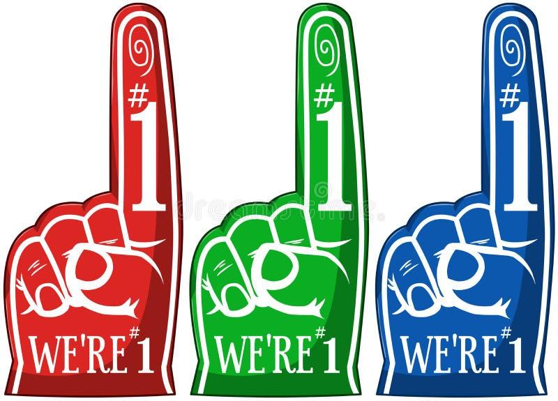 Cheering apontando o bloco das cores do dedo três ilustração do vetor