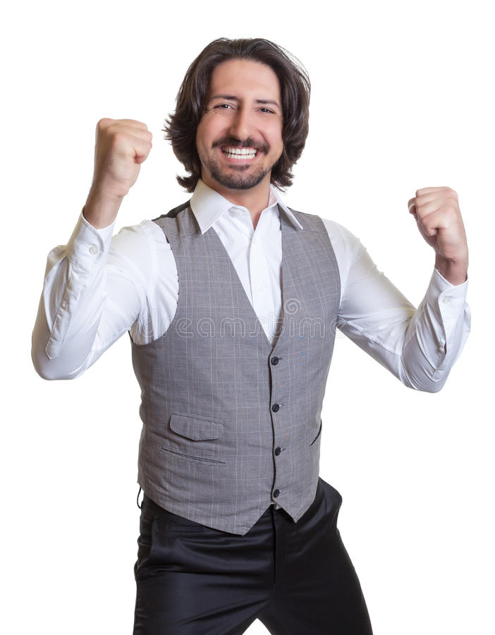 Cheering arabian man royalty free stock photos