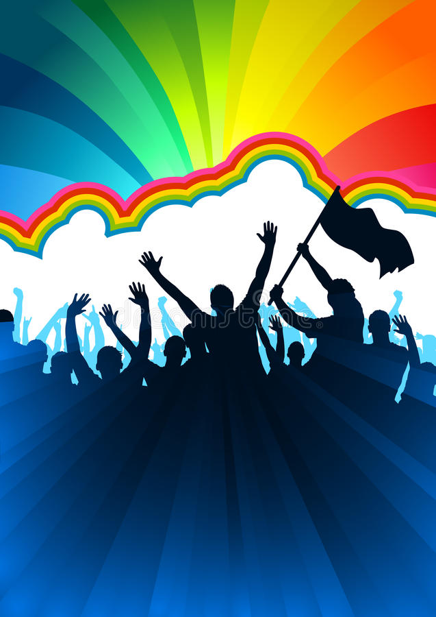 Cheering Audience with Flags. A crowd of people with flags and banners. Vector illustration