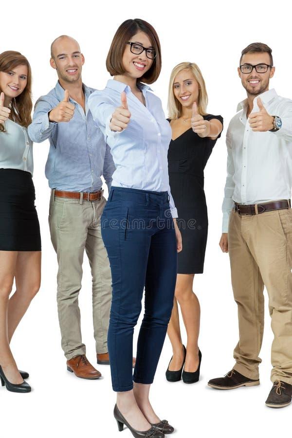 Cheering bem sucedido da equipe do negócio fotografia de stock