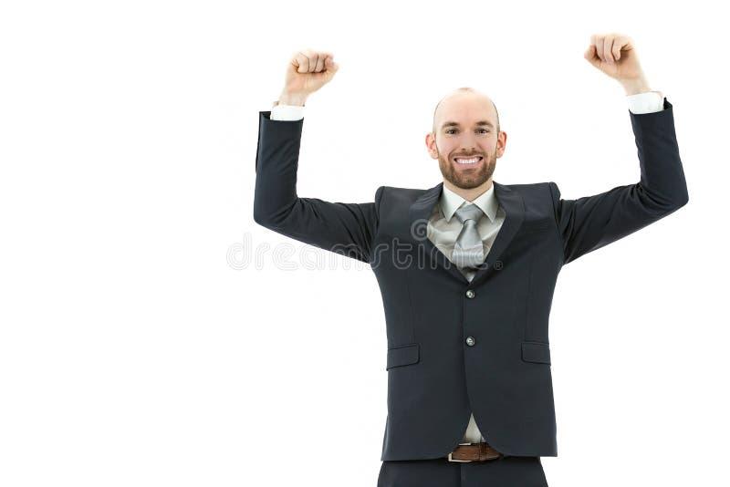 Cheering bem sucedido do homem de negócio fotos de stock royalty free