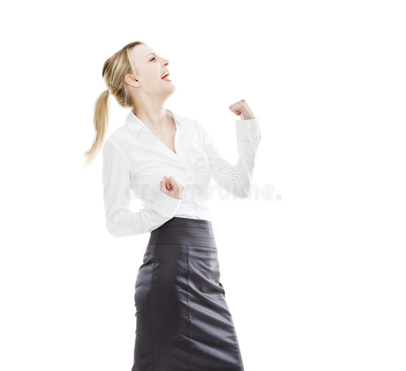 Cheering business woman isolated royalty free stock images