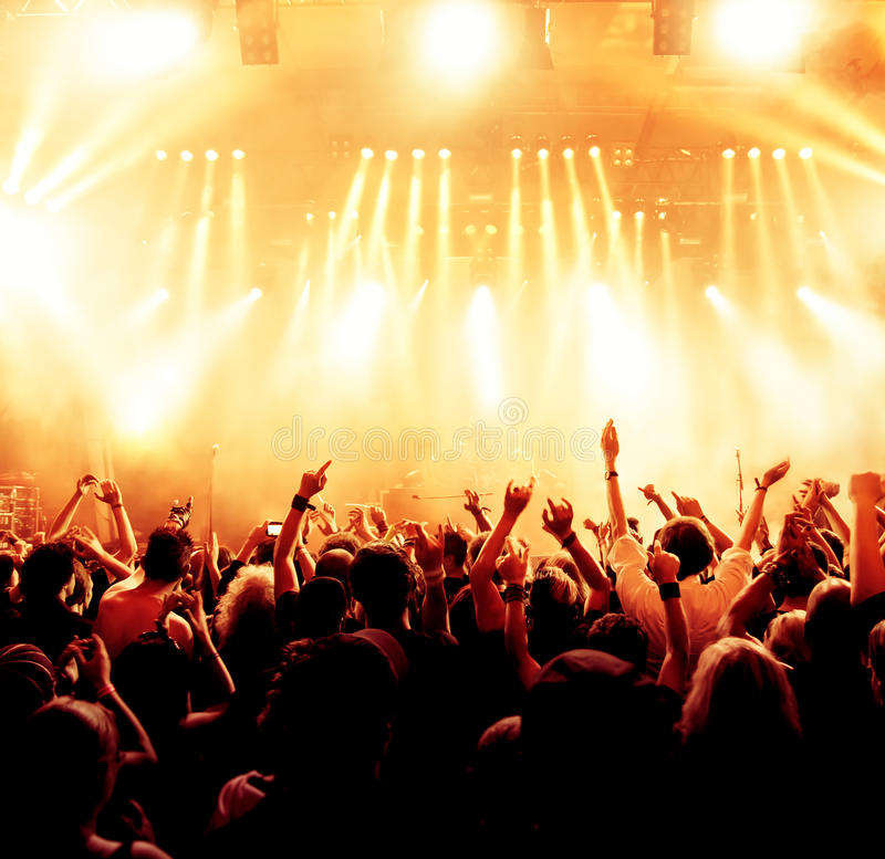 Cheering crowd. At a rock concert, young adults stock image