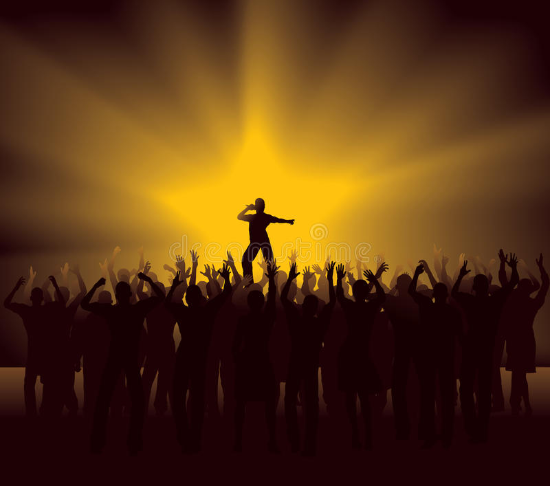 Cheering Crowd at concert royalty free illustration