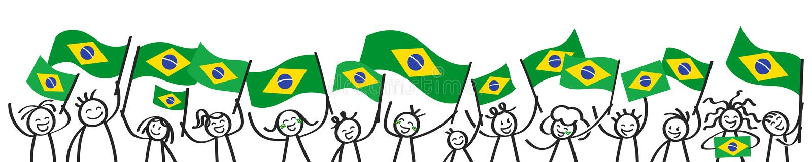 Cheering crowd of happy stick figures with Brazilian national flags, smiling Brazil supporters, sports fans stock illustration