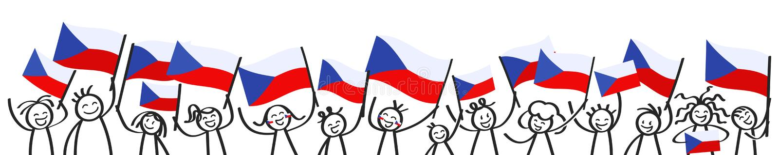 Cheering crowd of happy stick figures with Czech national flags, smiling Czech Republic supporters, sports fans stock illustration