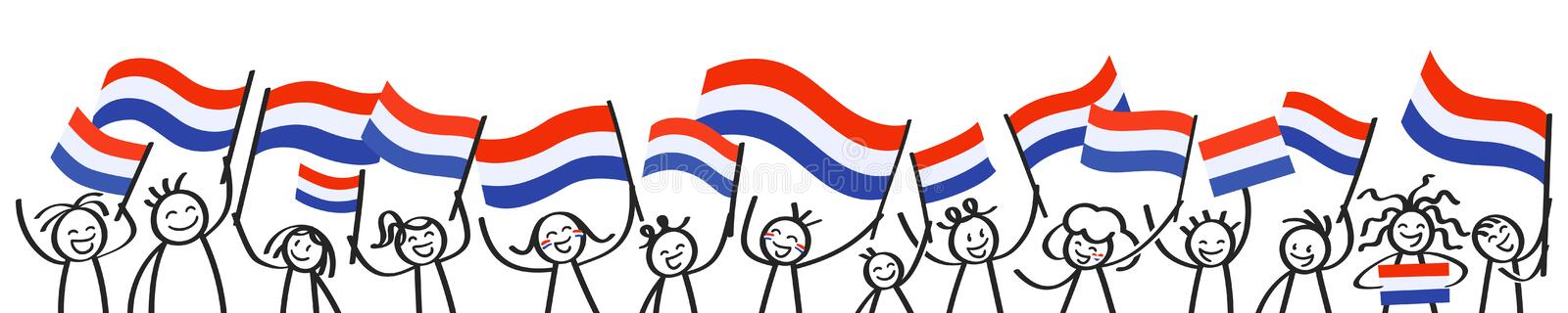 Cheering crowd of happy stick figures with Dutch national flags, smiling Netherlands supporters, sports fans stock illustration