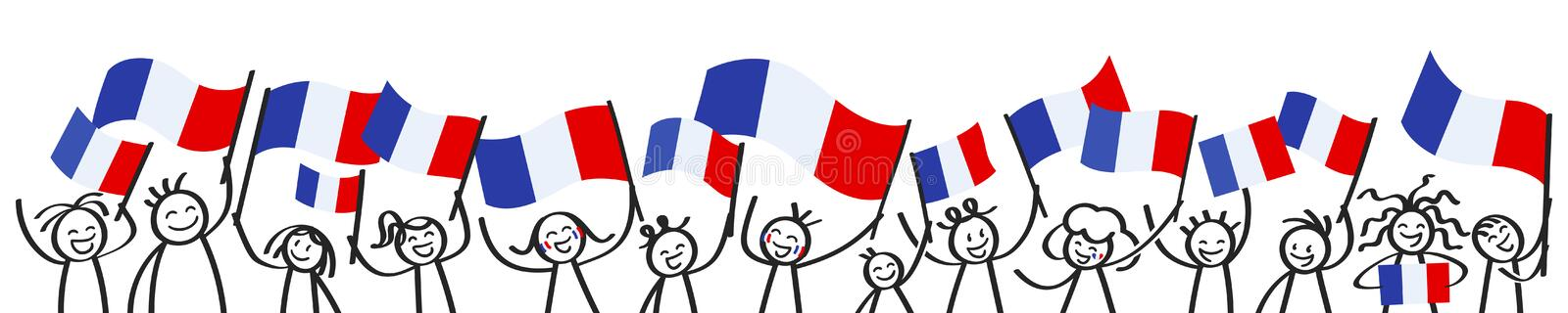 Cheering crowd of happy stick figures with French national flags, France supporters smiling and waving tricolor flags vector illustration
