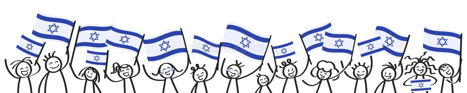 Cheering crowd of happy stick figures with Israeli national flags, smiling Israel supporters, sports fans royalty free illustration