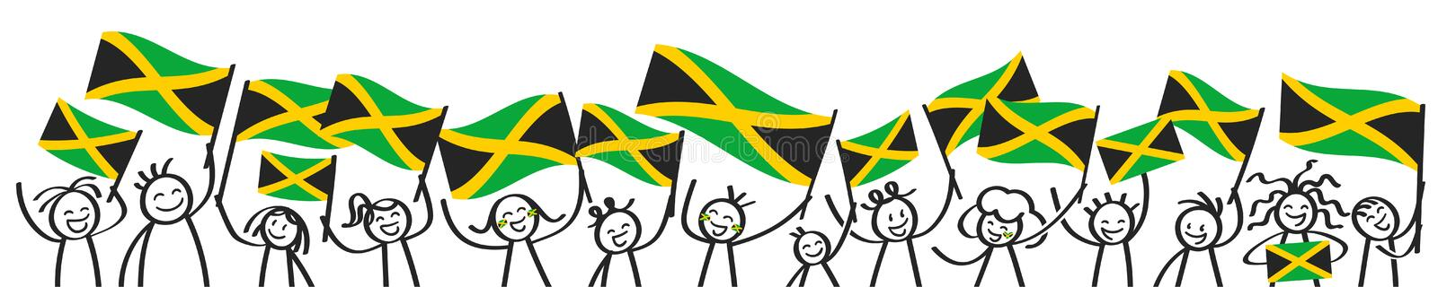 Cheering crowd of happy stick figures with Jamaican national flags, smiling Jamaica supporters, sports fans royalty free illustration