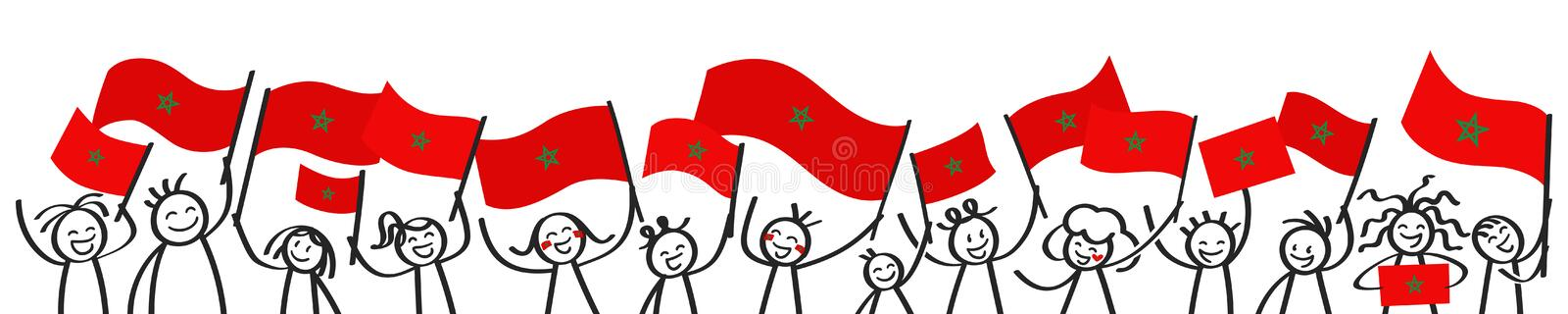 Cheering crowd of happy stick figures with Moroccan national flags, smiling Morocco supporters, sports fans royalty free illustration