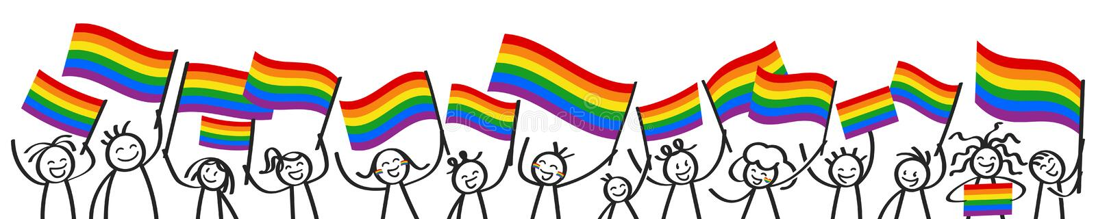 Cheering crowd of happy stick figures with rainbow flags, LGBTQ supporters smiling and waving colorful flags royalty free illustration