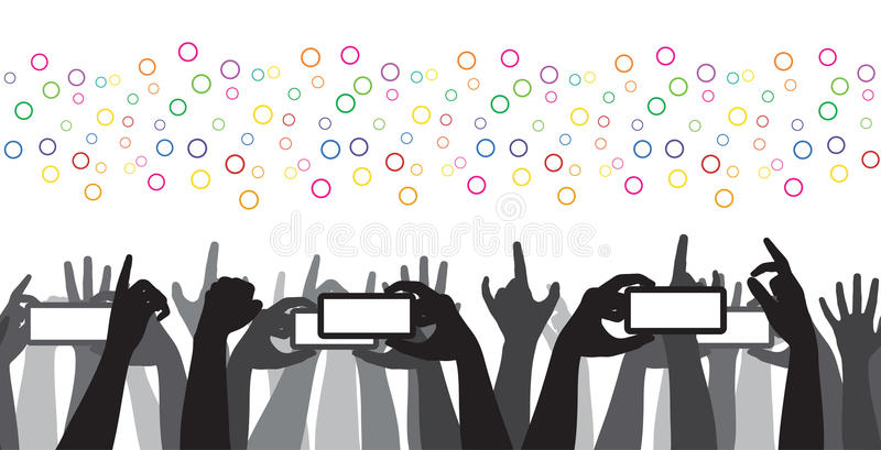 Cheering Crowd Mobile Recording Rock Concert stock illustration