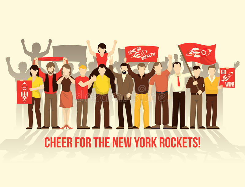 Cheering Crowd People Retro Style Composition vector illustration