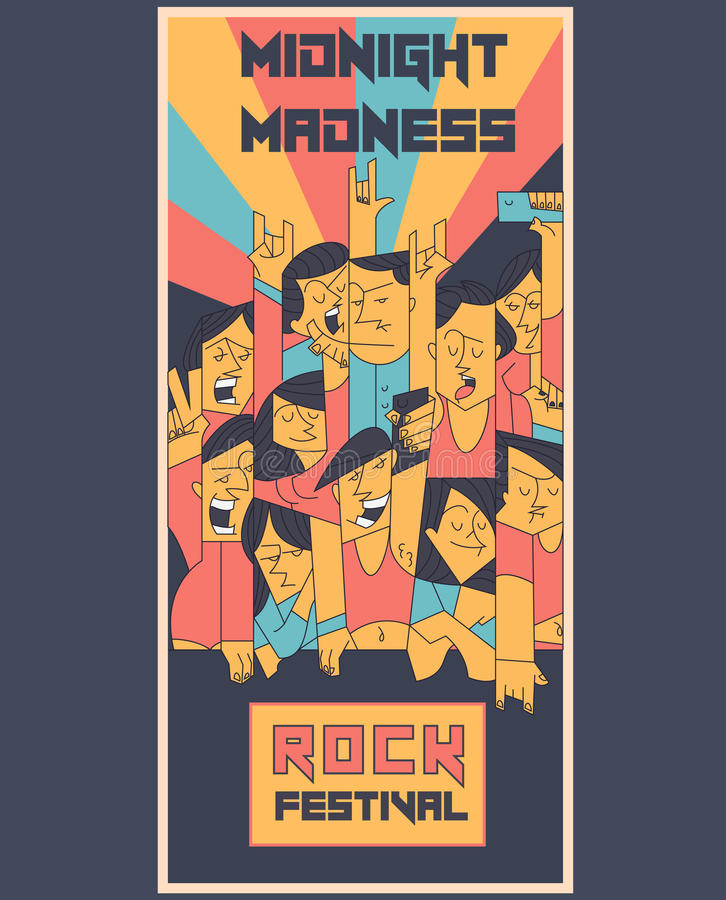 Cheering crowd at a rock concert flyer template. Dancing cartoon hands up people in music festival or student party. Vector illustration royalty free illustration