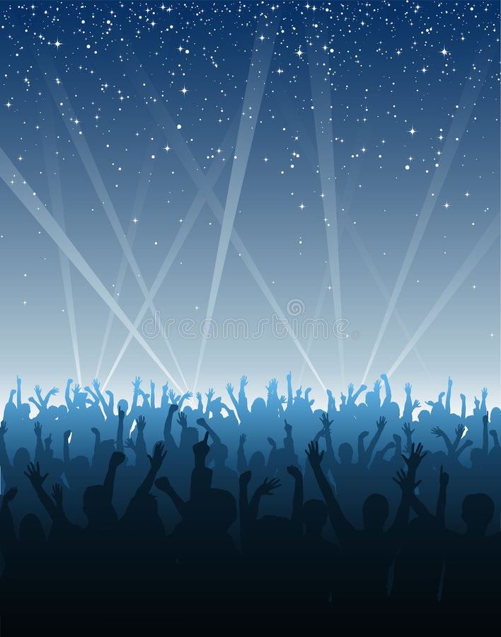Free Cheering Crowd Under Stars Royalty Free Stock Photos - 3641108