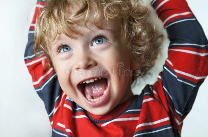 Cheering da criança fotos de stock