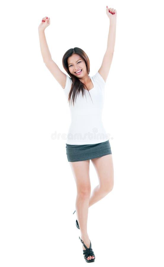 Cheering da mulher nova imagem de stock