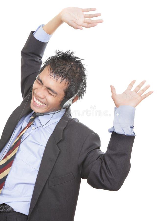 cheering do agente do Chamar-centro fotos de stock