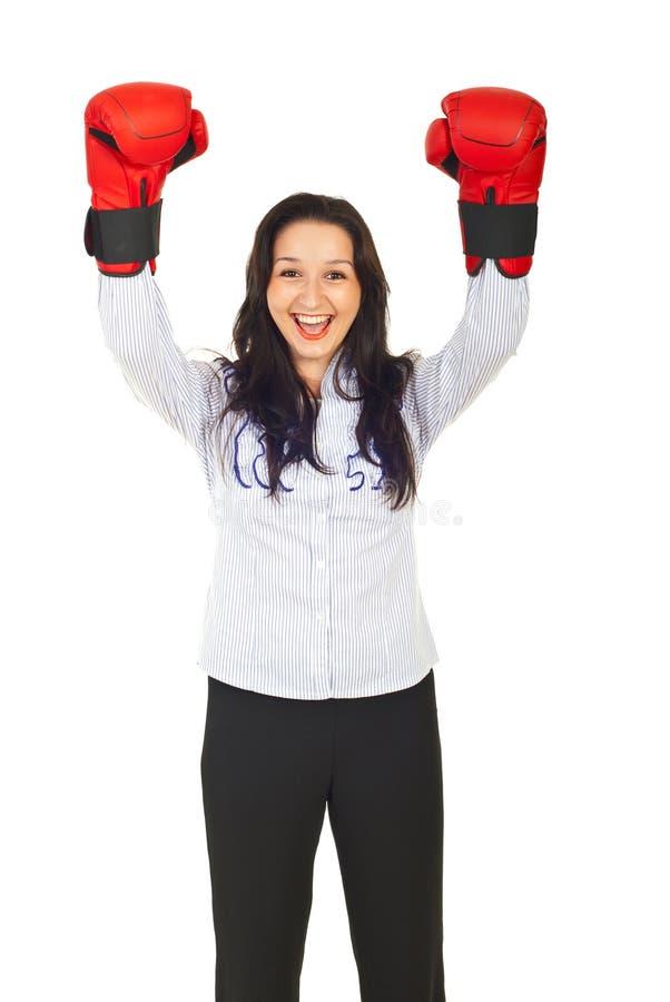 Cheering do vencedor do negócio da competição imagens de stock
