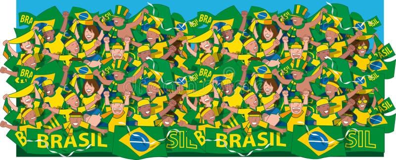 Cheering dos fãs de futebol de Brasil ilustração royalty free