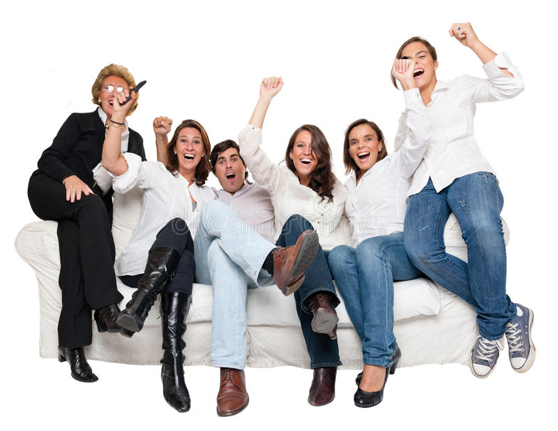 Cheering Family Watching Tv Royalty Free Stock Photos