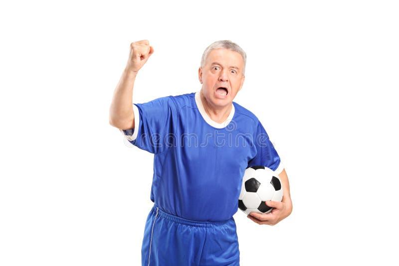 Cheering fanático do suporte do futebol foto de stock royalty free