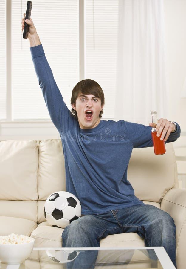cheering game man στοκ εικόνες