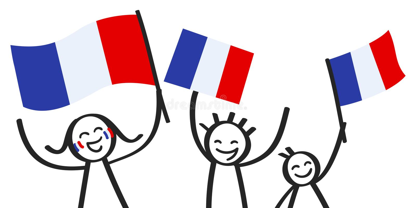 Cheering group of happy stick figures with French national flags, France supporters smiling and waving tricolor flags. Isolated on white background vector illustration