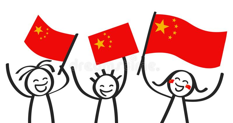 Cheering group of three happy stick figures with Chinese national flags, smiling China supporters, sports fans. Isolated on white background vector illustration
