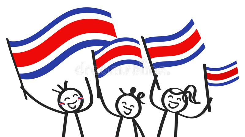 Cheering group of three happy stick figures with Costa Rican national flags, smiling Costa Rica supporters, sports fans. Isolated on white background stock illustration