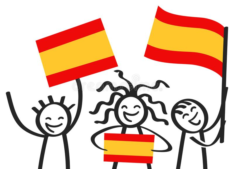 Cheering group of three happy stick figures with Spanish national flags, smiling Spain supporters, sports fans. Isolated on white background stock illustration