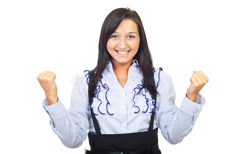 Cheering One Woman Royalty Free Stock Image