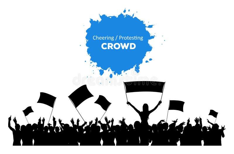 Cheering ou protestando a multidão ilustração royalty free