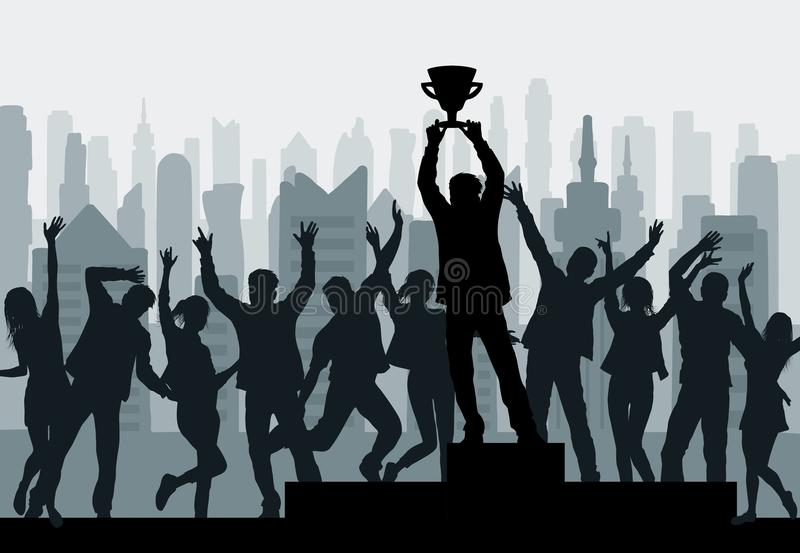 Cheering people and winner champion silhouette with winner`s cup royalty free illustration
