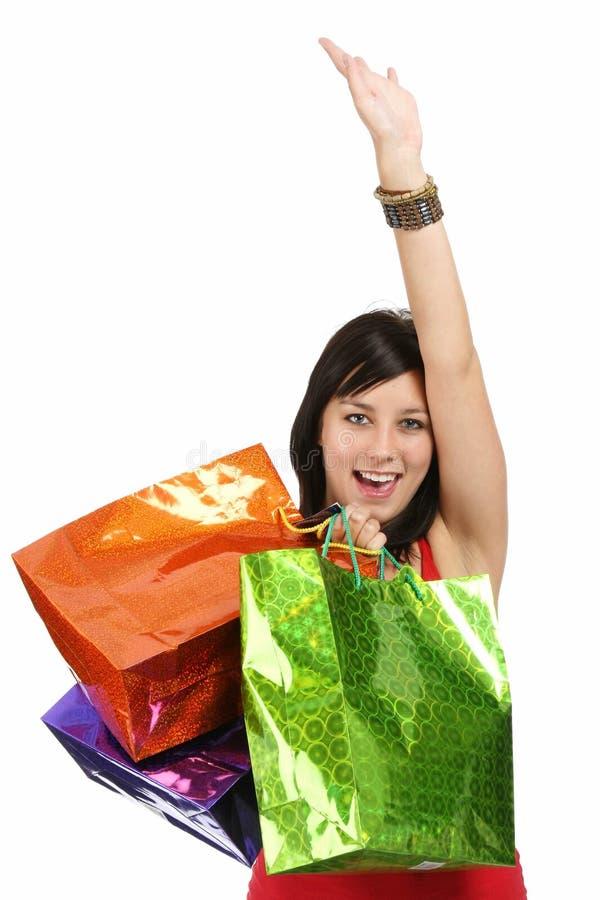 Cheering Shopping Woman stock image