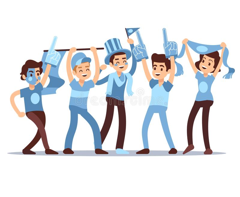 Cheering sports fans vector cartoon people characters. Sports team victory concept royalty free illustration
