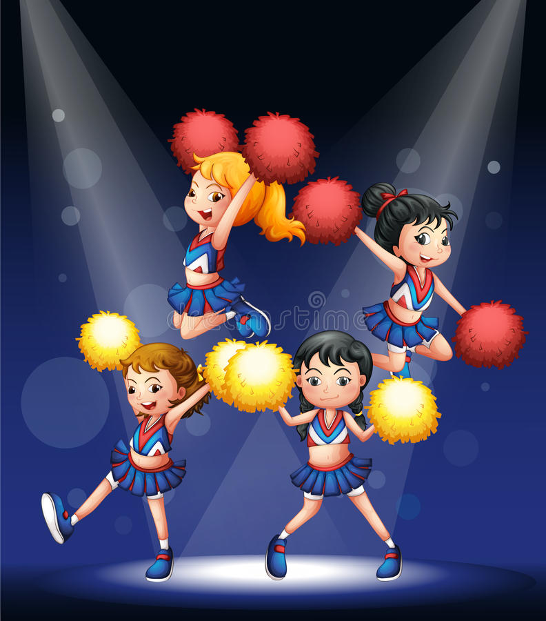 A Cheering Squad With Red And Yellow Pompoms Royalty Free Stock Images