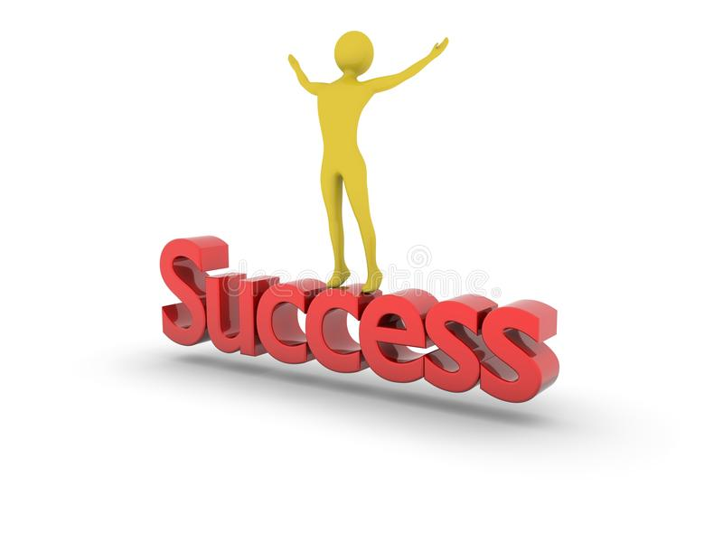 Cheering at top of Success. Success achieved.High Resolution 3D render isolated on white stock illustration