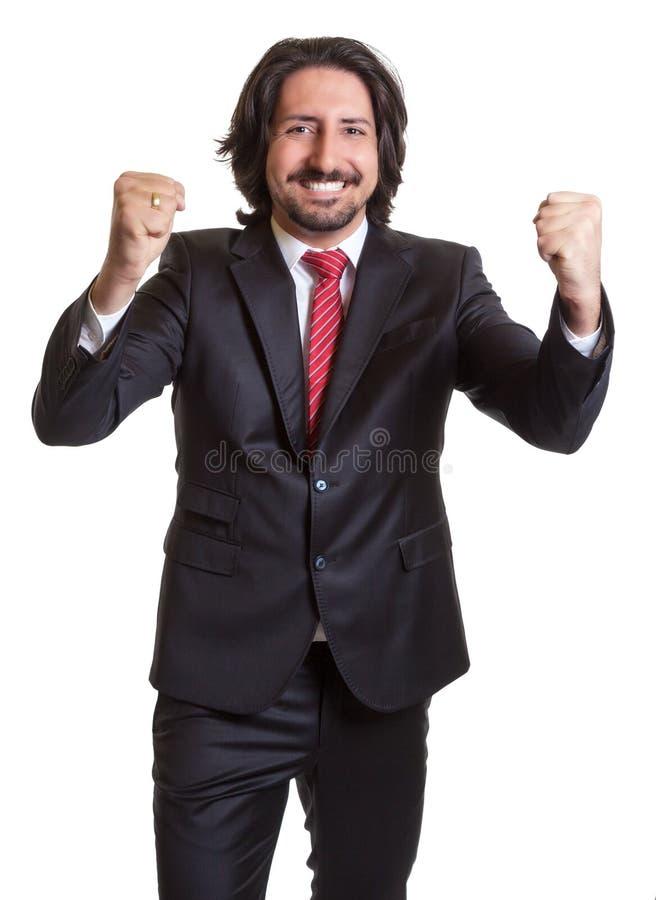 Cheering turkish businessman stock image