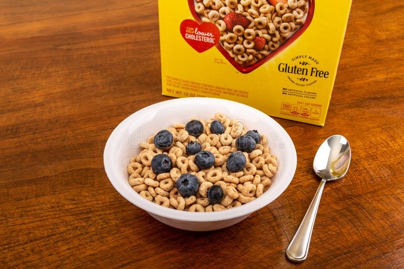 Cheerios with Blueberries royalty free stock images